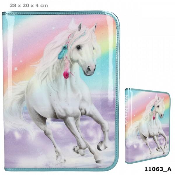 Depesche 11063 weißes Pferd Miss Melody große Federtasche RAINBOW Regenbogen